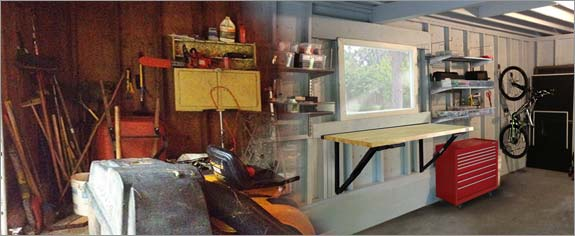 Garage workbench installed, before and after picture